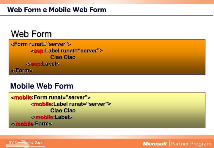 Web Form e Mobile Web Form