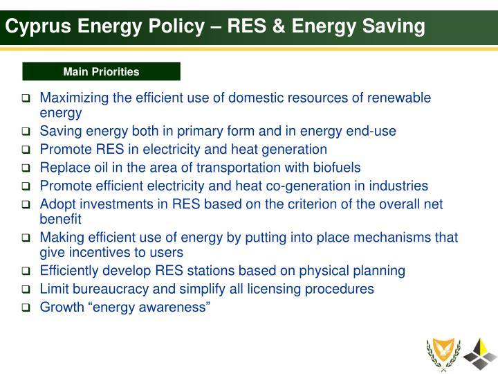Cyprus Energy Policy – RES & Energy Saving