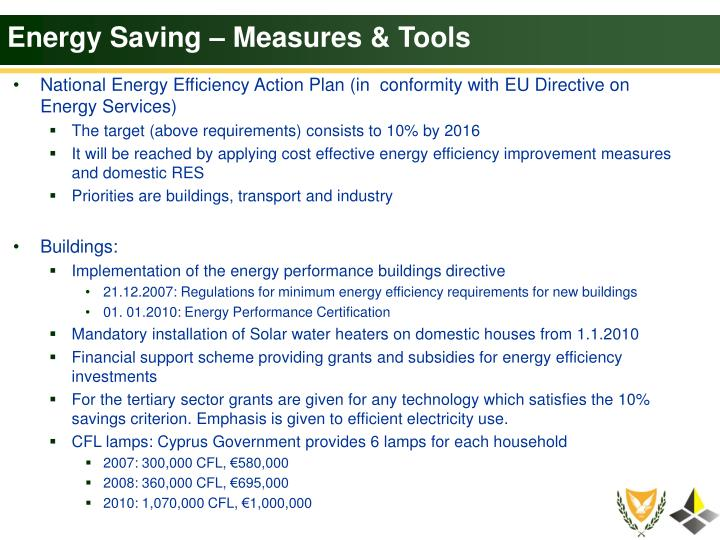 Energy Saving – Measures & Tools