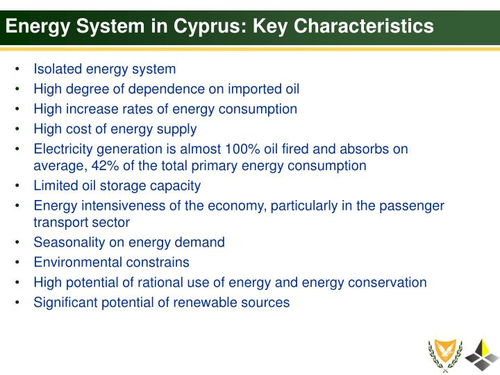 Energy System in Cyprus: Key Characteristics