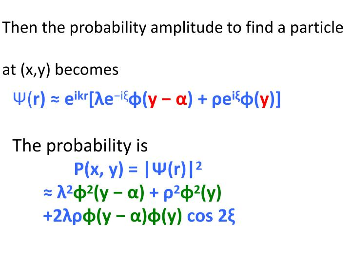 Then the probability amplitude to find a particle