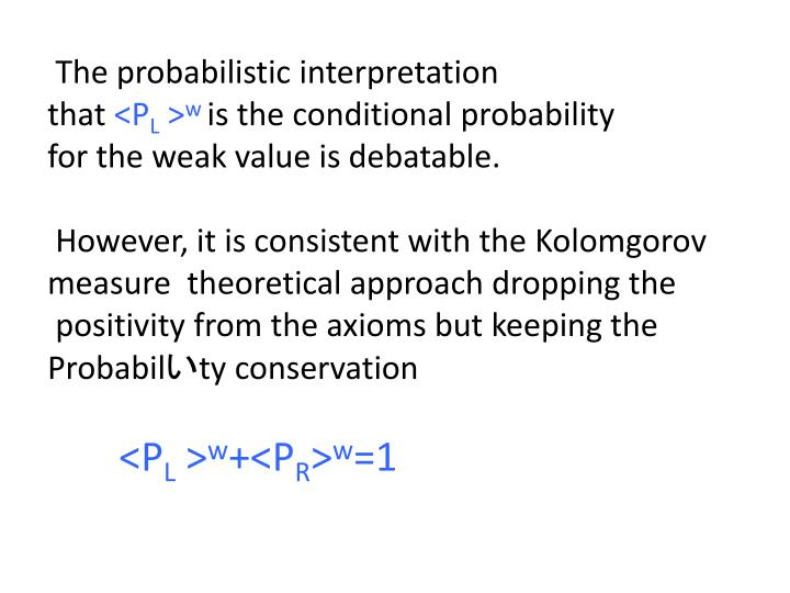 The probabilistic interpretation