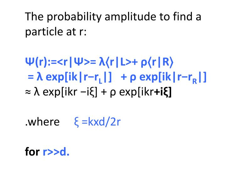 The probability amplitude to