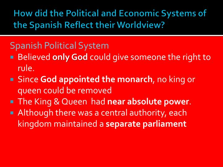 How did the Political and Economic Systems of the Spanish Reflect their Worldview?