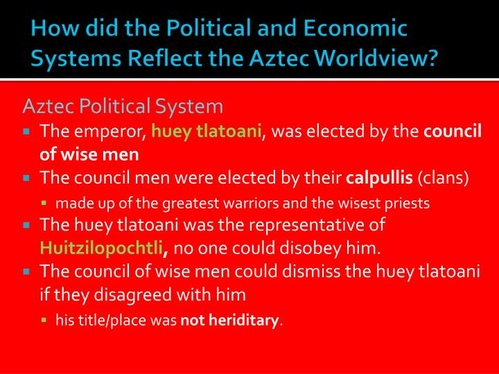 How did the Political and Economic Systems Reflect the Aztec Worldview?