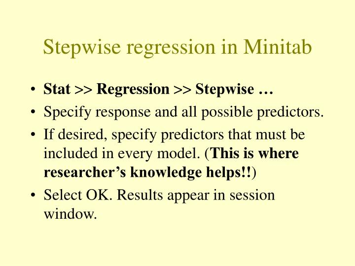 Stepwise regression in Minitab