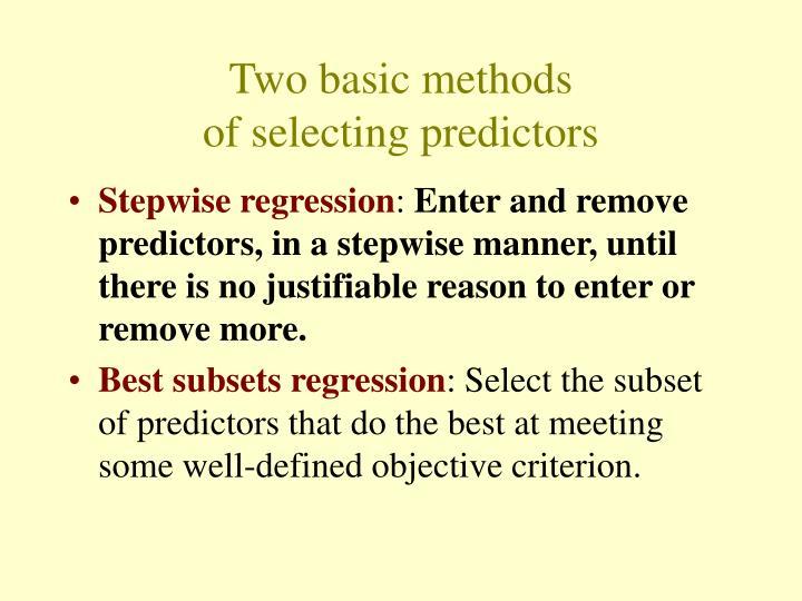 Two basic methods