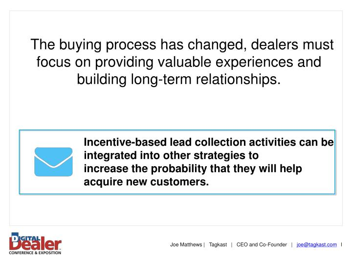 The buying process has changed, dealers must focus on providing valuable experiences and building long-term relationships.