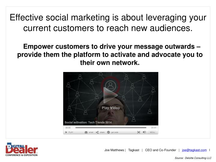 Effective social marketing is about leveraging your current customers to reach new audiences.