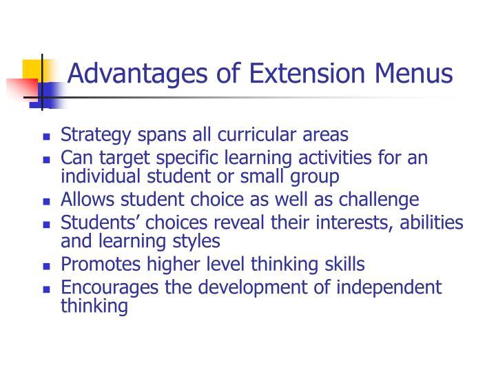 Advantages of Extension Menus