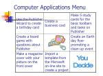computer applications menu
