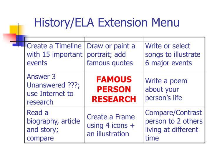 History/ELA Extension Menu
