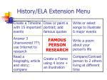 history ela extension menu