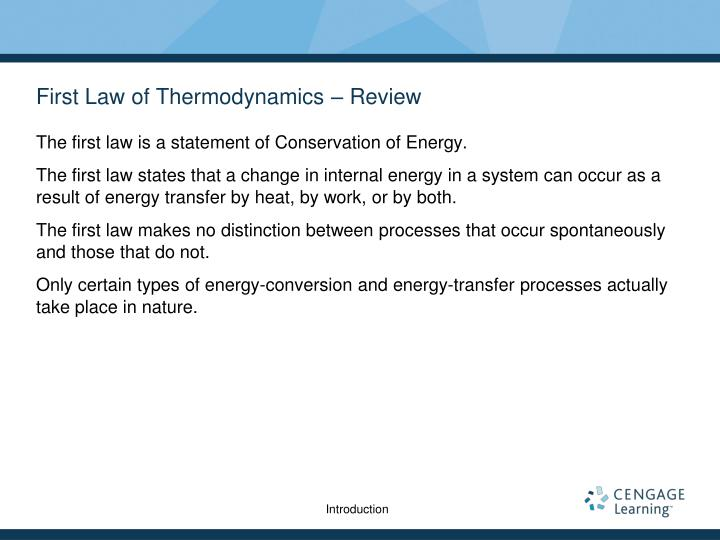 First Law of Thermodynamics – Review