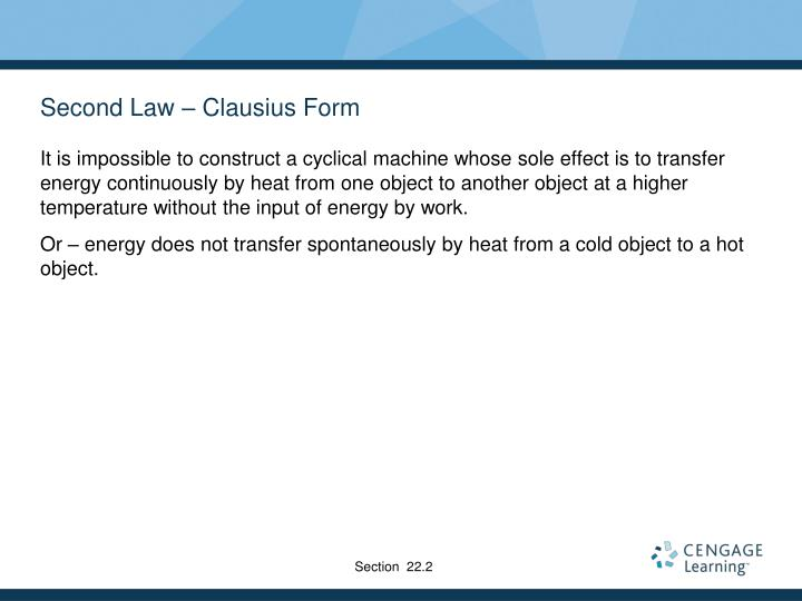 Second Law – Clausius Form