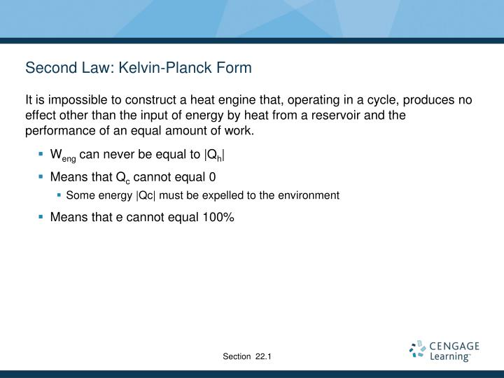 Second Law: Kelvin-Planck Form