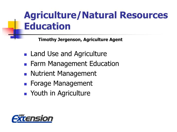 Agriculture/Natural Resources Education