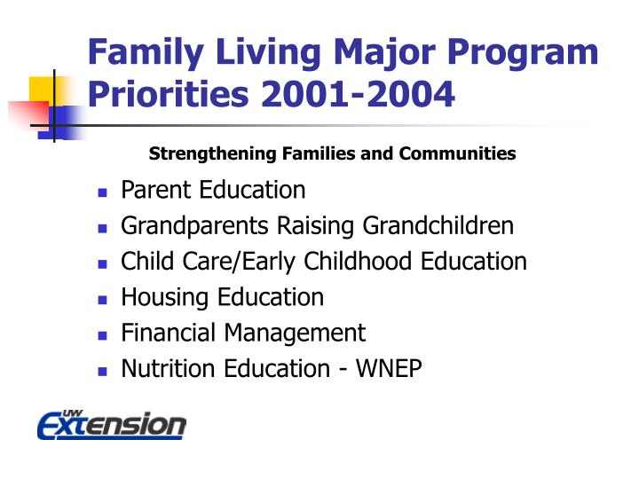 Family Living Major Program Priorities 2001-2004
