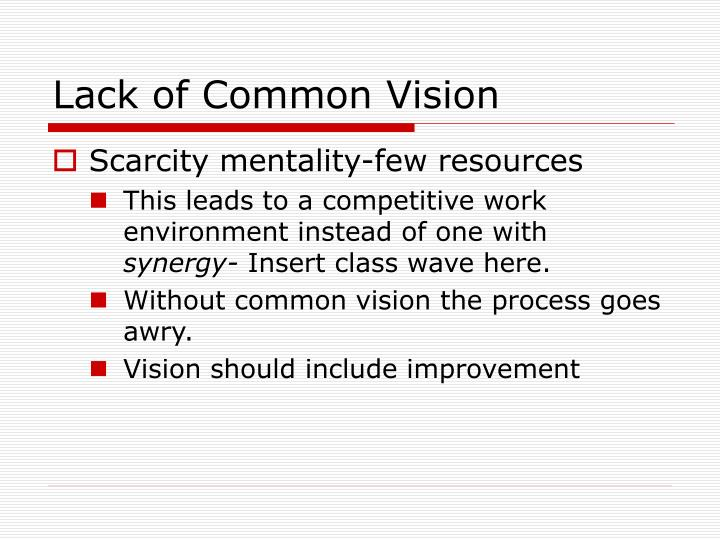 Lack of Common Vision