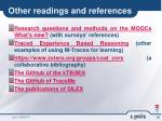 other readings and references