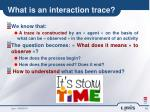 what is an interaction trace