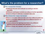 what s the problem for a researcher