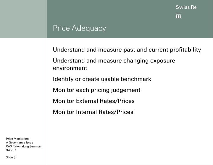 Price adequacy