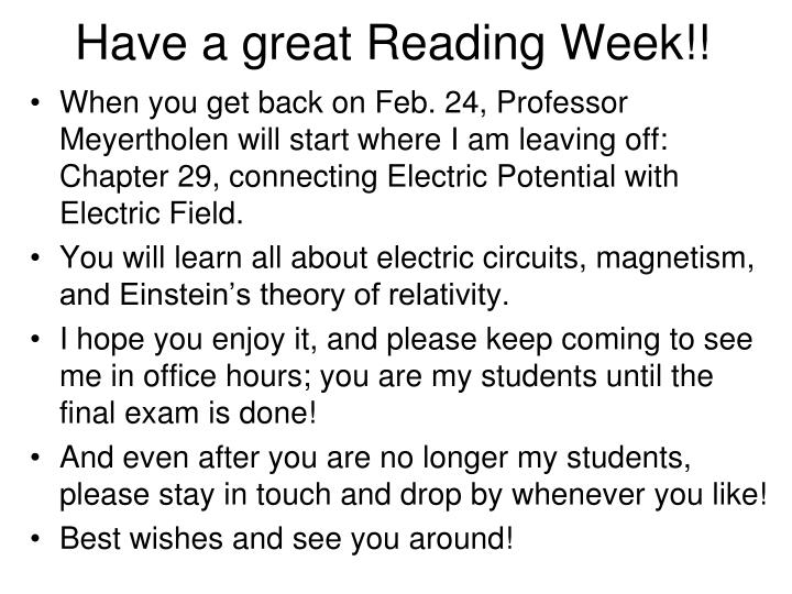 Have a great Reading Week!!