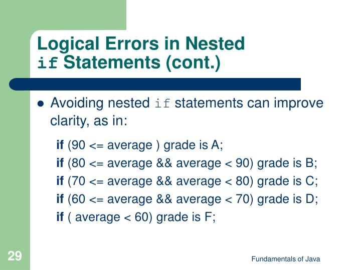 Logical Errors in Nested