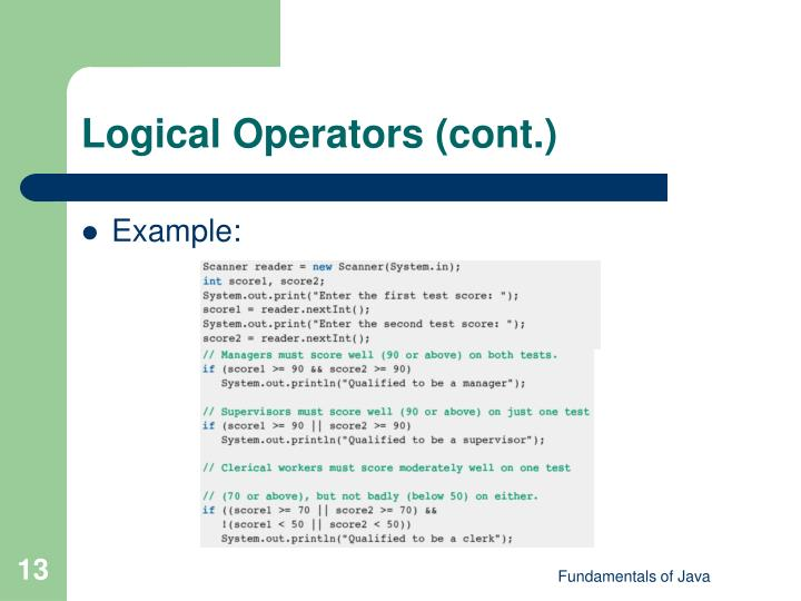 Logical Operators (cont.)