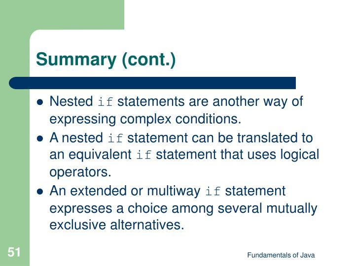 Summary (cont.)
