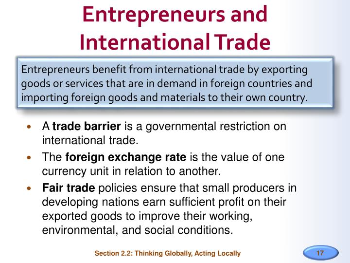 Entrepreneurs and International Trade