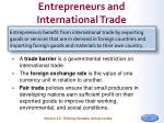entrepreneurs and international trade