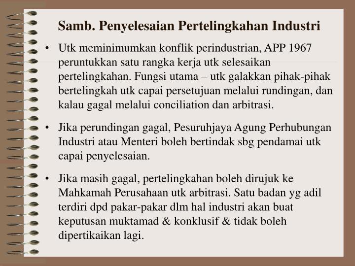 Samb. Penyelesaian Pertelingkahan Industri