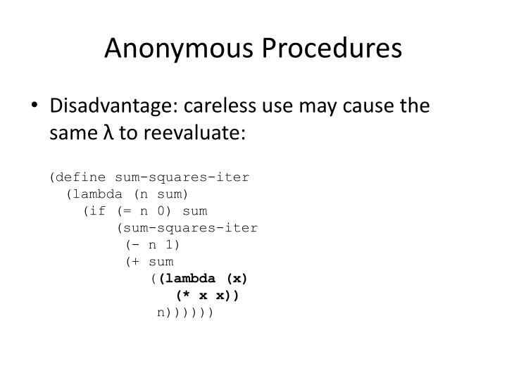 Anonymous Procedures