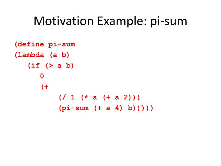 Motivation Example: pi-sum