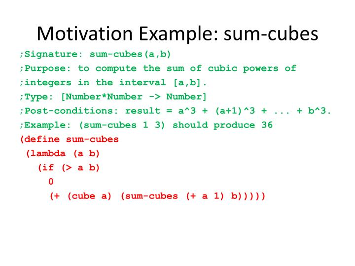 Motivation Example: sum-cubes