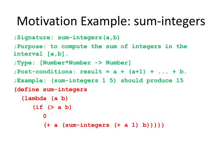 Motivation Example: sum-integers