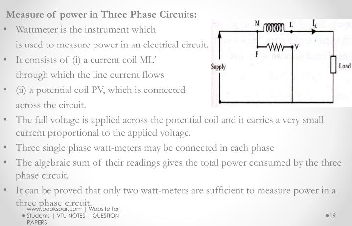 Measure of power in Three Phase Circuits: