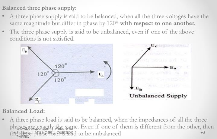 Balanced three phase supply: