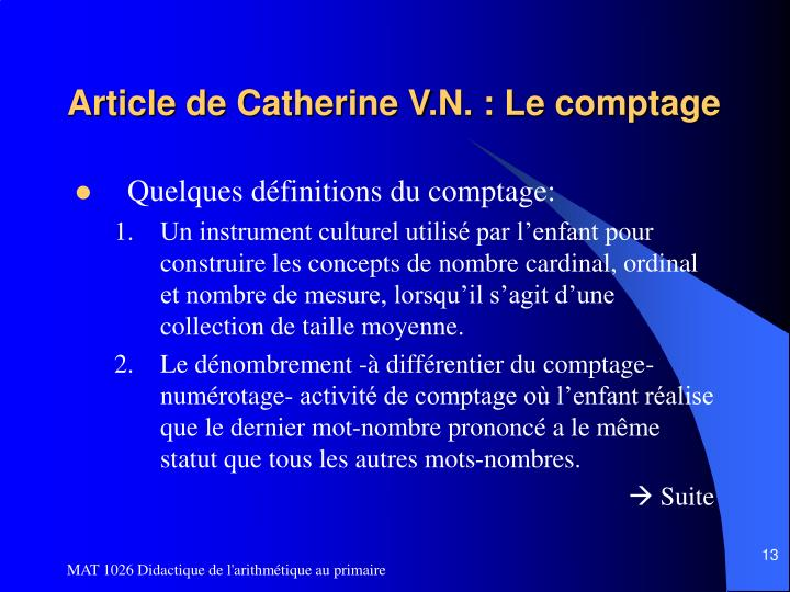 Article de Catherine V.N. : Le comptage