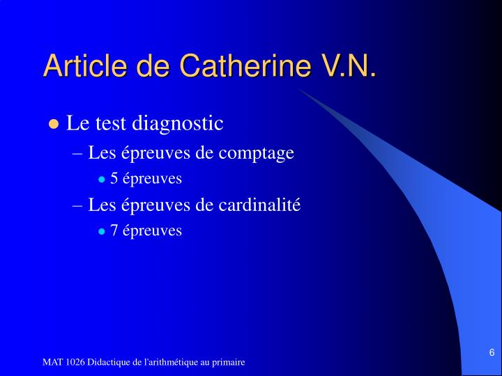 Article de Catherine V.N.