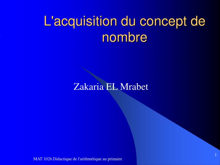 L acquisition du concept de nombre