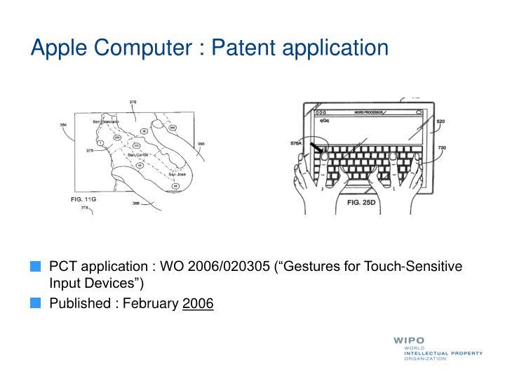 Apple Computer : Patent application