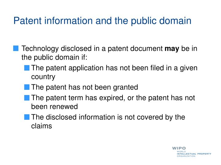 Patent information and the public domain