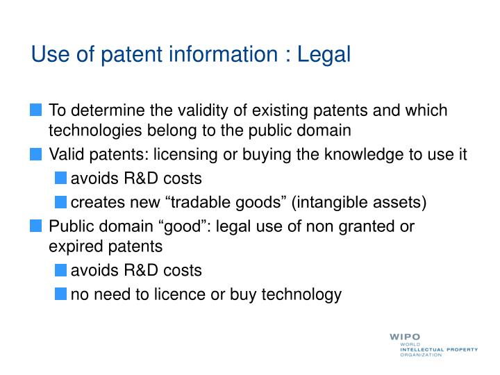 Use of patent information : Legal