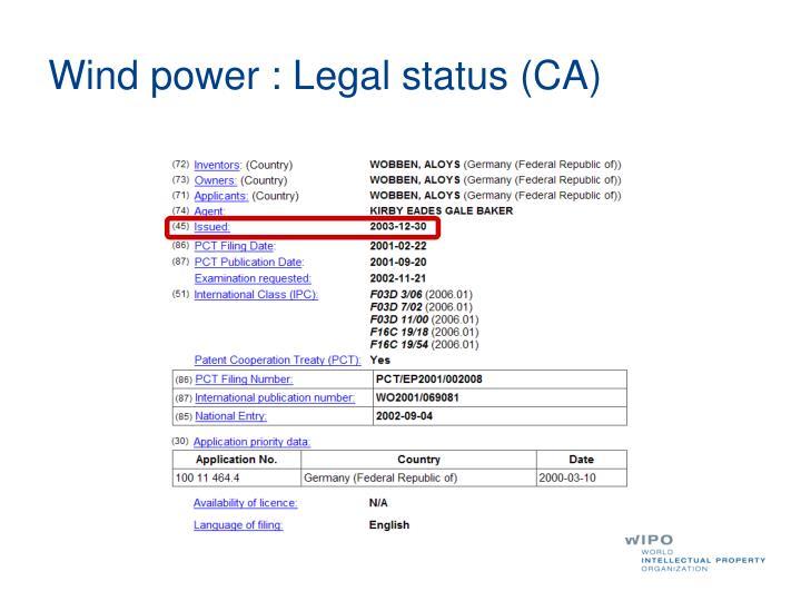 Wind power : Legal status (CA)