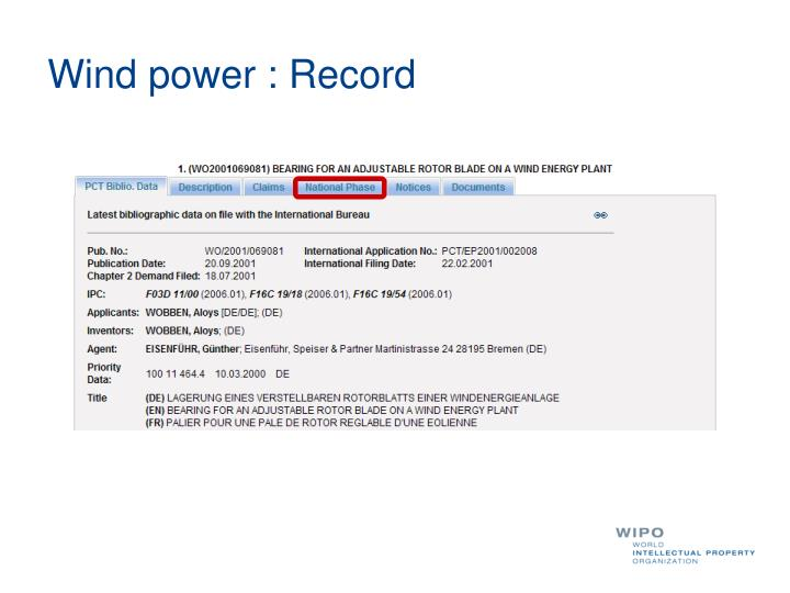 Wind power : Record