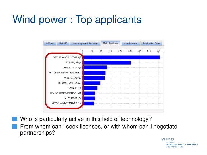 Wind power : Top applicants