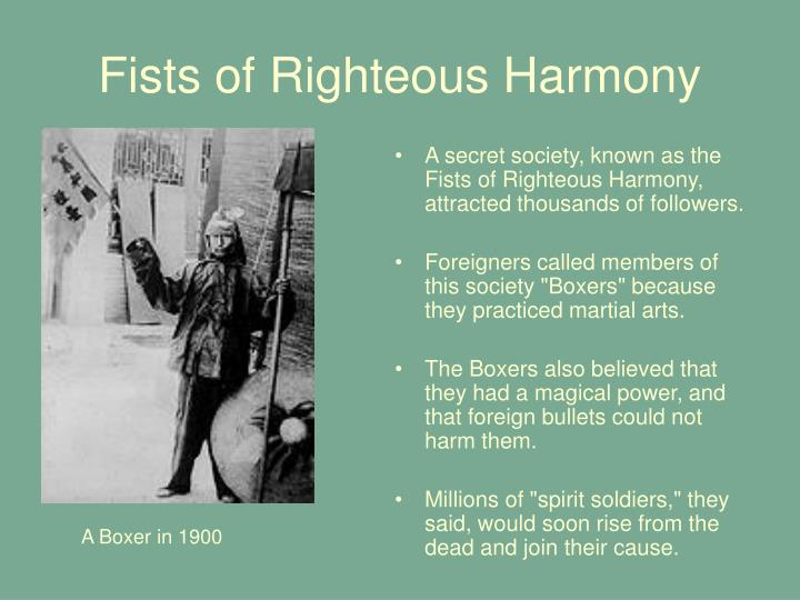Who were the fists of righteous harmony